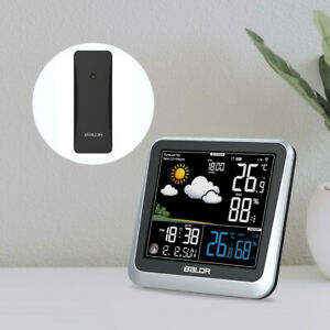 LCD Clock Wireless Weather Station Temperature Humidity Barometer Moon Phase