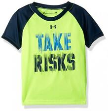 Under Armour Boys Hi Vision Yellow Take Risks Dry Fit Top Size 5