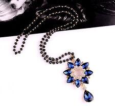 Blue flower water drop pendant black beads long necklace UK