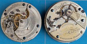 Two Antique Hampden Pocket Watch Movements 18s + 16s