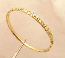 7aa22a320 Framed Byzantine Link Round Bangle Bracelet Real Solid 18K Yellow Gold