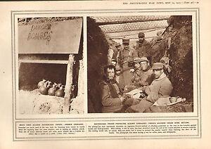 1915 WWI Aufdruck ~Französischer Granaten~ Entrenched Troops Unter Draht Netz
