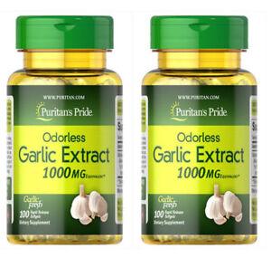 GARLIC EXTRACT ODORLESS 200 gels 1000 mg PURITANS PRIDE