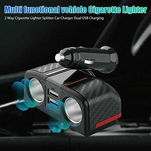 Car Cigarette Lighter Socket Dual USB Adapter Splitter 12V Outlet Power Charger