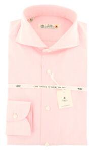 New $600 Luigi Borrelli Pink  Shirt - Extra Slim - (LB4803PI)