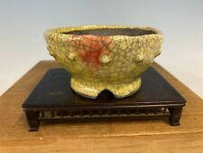 Shohin Size Bonsai Tree Pot Made By Bunzan 4 5/8� Yellow And Red Glaze