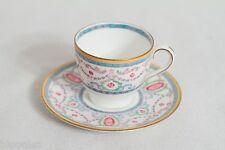 Royal Doulton Espresso Cup & Saucer Set (Blue, Pink, Gold Trimmed)