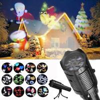12Patterns Christmas LED Laser Projector Light Landscape Outdoor Xmas Santa Lamp