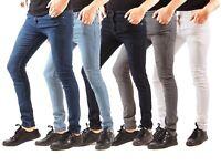 Mens Slim Skinny Fit Jeans Designer Smart Denim Plain Pants Stretch Trousers