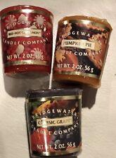 Bridgewater Candle Company 3 Wrapped 2 Oz -Votive Cinnamon, Grape & Pumpkin Pie