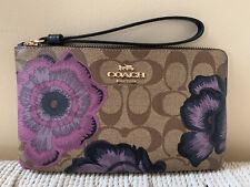 COACH 6285 Large Corner Zip Wristlet Signature Kaffe Fassett Floral Print NWT