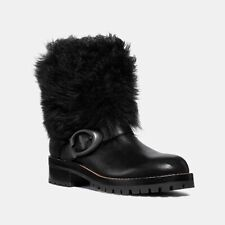 Coach Leighton Shearling-Cuff Leather Buckle Boots Moto Bootie Black Fur