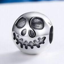 Halloween Skull Fun Charm .925 Sterling Silver European Bead fit Bracelet Chain