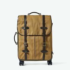 CC FILSON Rugged Twill Rolling 4-WHEEL Check-In Bag Tan Bridal Leather Luggage