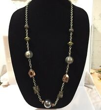"Chico's 34"" Necklace Chunky Metallic Beads Silver Tone Chain"