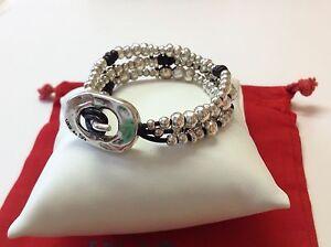 """NWT Uno de 50 Silvertone/Leather Triple Beaded Bracelet """"Dodgeball"""" $165  7"""""""