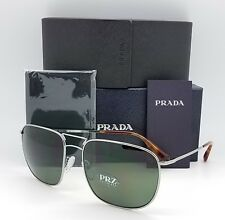 New Prada sunglasses PR52TS 5AV6P0 60mm Silver Polarized Mens Large Square PR 52