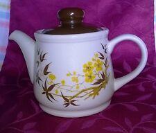 Sadler Teapot Bamboo Yellow Flower Vintage Retro Brown lid 1 PINT
