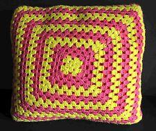 "16"" Vintage Hand Made Crocheted Pillow Pink Yellow Yarn Orange Fabric FREE SH"