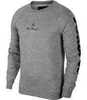 New Men's Air Jordan Legacy AJ11 Fleece Crew (BQ0197-091)  Carbon Heather Grey