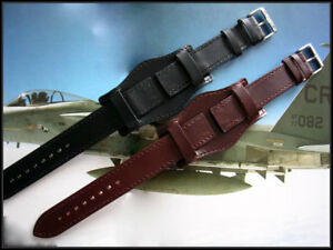 Bund Open End Leather watchband Military strap IW SUISSE 10 12 14 16 18 19 20 22