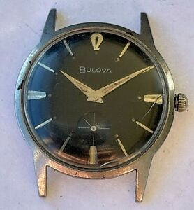 Vintage Bulova Swiss hand winding mens watch with seconds hand register