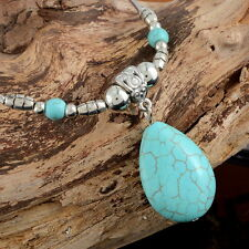 1PC Ethnic Bright Silver Tone Chain Oval Rimous Turquoise Pendant Necklace NEW