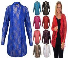 NEW WOMENS PLUS SIZE FLORAL LACE CARDIGAN WOMENS LONG SLEEVE WATER FALL 12-28
