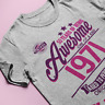 Womens ORGANIC 50th Birthday T-Shirt 50 Years Of Being AWESOME 1971 Gift Ladies