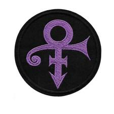 "PRINCE SYMBOL IRON ON PATCH 3"" Round Embroidered Artist Love Black Purple Rain"