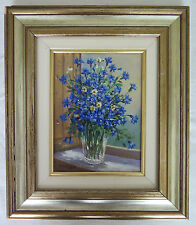 A.Baseggio: Painting Floral Oil on Linen Signed Painting Modern with Flowers c2