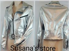 NWT bebe  Silver  Belted Moto Jacket SIZE M Fabulous Super chic!!