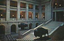 Winnipeg MB Manitoba Legislative Building The Grand Staircase Bison Postcard D2