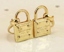 Fashion Gold Color Barnd Padlock Pave Drop Logo Hook Earrings