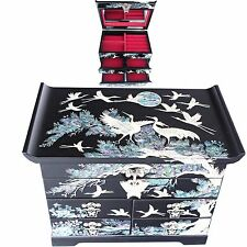 Jewelry box  Jewelry Organizer  Mother Of Pearl Gift  4 Drawers  D402 Black
