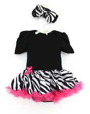 2pcs Infant Baby Girl Headband Romper Jumpsuit Top Tutu Dress Clothes 3-6M
