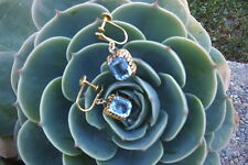 ESTATE 14K YELLOW GOLD 4 CARATS BLUE TOPAZ DANGLE EARRINGS SCREWBACKS