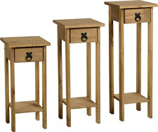 Seconique CORONA Distressed Mexican Pine Set of 3 Plant Stands
