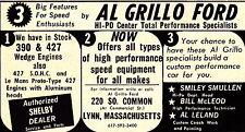 1968 ALL GRILLO FORD - LYNN, MA - 427 SOHC ENGINES  ~  RARE ORIGINAL PRINT AD