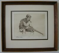 Don Schoffstal pencil signed etching Duck Hunter artist proof Benson style