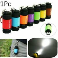 Mini Torch LED Light Pocket USB Rechargeable Keychain Keyring Camping Flashlight