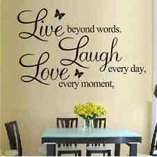 fashion letter LIVE LAUGH LOVE Wall Quote Stickers Butterflies Vinyl Decal Home