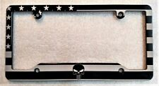 AMERICAN FLAG, PUNISHER, HMC Billet License Plate Frame, Black Anodized, BSNP