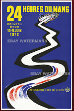 1972 24 Heures Du Mans Vintage Advertising Race Poster 11 x 17