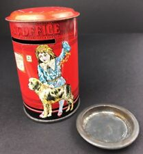 Vintage Tin Post Office Litho English Coin Bank Can Child Dressed Victorian Dog