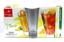 3 x Bormioli Rocco Ypsilon Glass Cocktail LONG Tumbler Glasses Drinking Cups