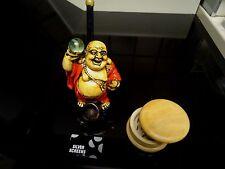 Happy Buddha Tobacco Smoking Pipe w /Glass Ball + Grinder & Screens  PM1651+G