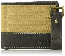 Timberland Mens Canvas and Leather Bifold Wallet with Leather Key Fob Gift Set