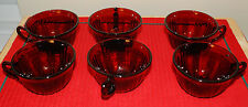 Vintage Set of 6 Ruby Red - Cranberry Cut Glass Mugs/Cups