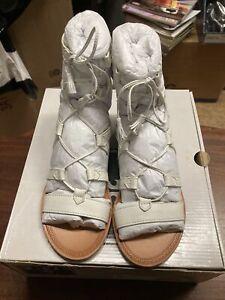 ! Frye Ruth Gladiator Short Full Grain Leather Women's Sandal White 6M